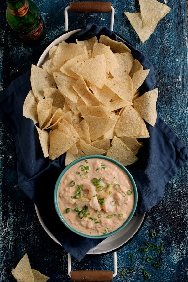 Shrimp Salsa Dip - Overhead shot of shrimp dip and chips