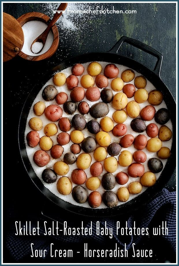 "Skillet Salt-Roasted Baby Potatoes with Sour Cream Horseradish Sauce makes a fun side dish or party appetizer!  Salt-roasting makes the skins super crispy, the interior beautifully creamy and it's the perfect cooking method for baby or ""peewee"" potatoes."