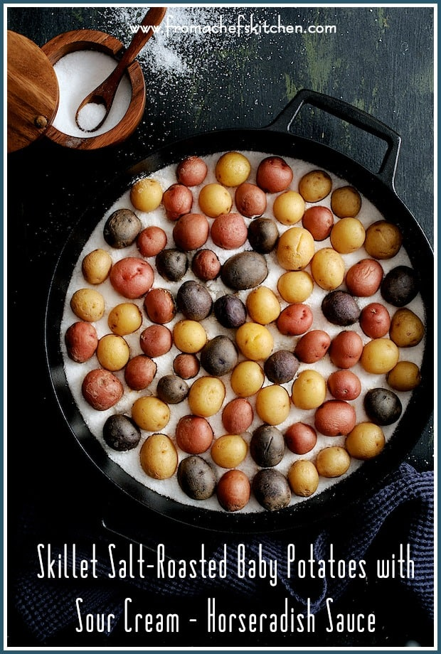 """Skillet Salt-Roasted Baby Potatoes with Sour Cream Horseradish Sauce makes a fun side dish or party appetizer! Salt-roasting makes the skins super crispy, the interior beautifully creamy and it's the perfect cooking method for baby or """"peewee"""" potatoes. #salt #potatoes #sourcream #horseradish #sidedish"""
