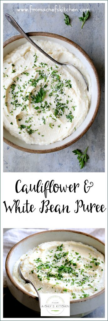 Cauliflower White Bean Puree is the perfect stand-in for decadent mashed potatoes! Cream cheese makes it creamy while white beans add that touch of thickening and body you crave in a mashed potato substitute--all while keeping it low-carb!