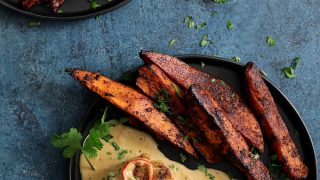 Spicy Tahini Pork Medallions with Harissa Roasted Sweet Potato Wedges