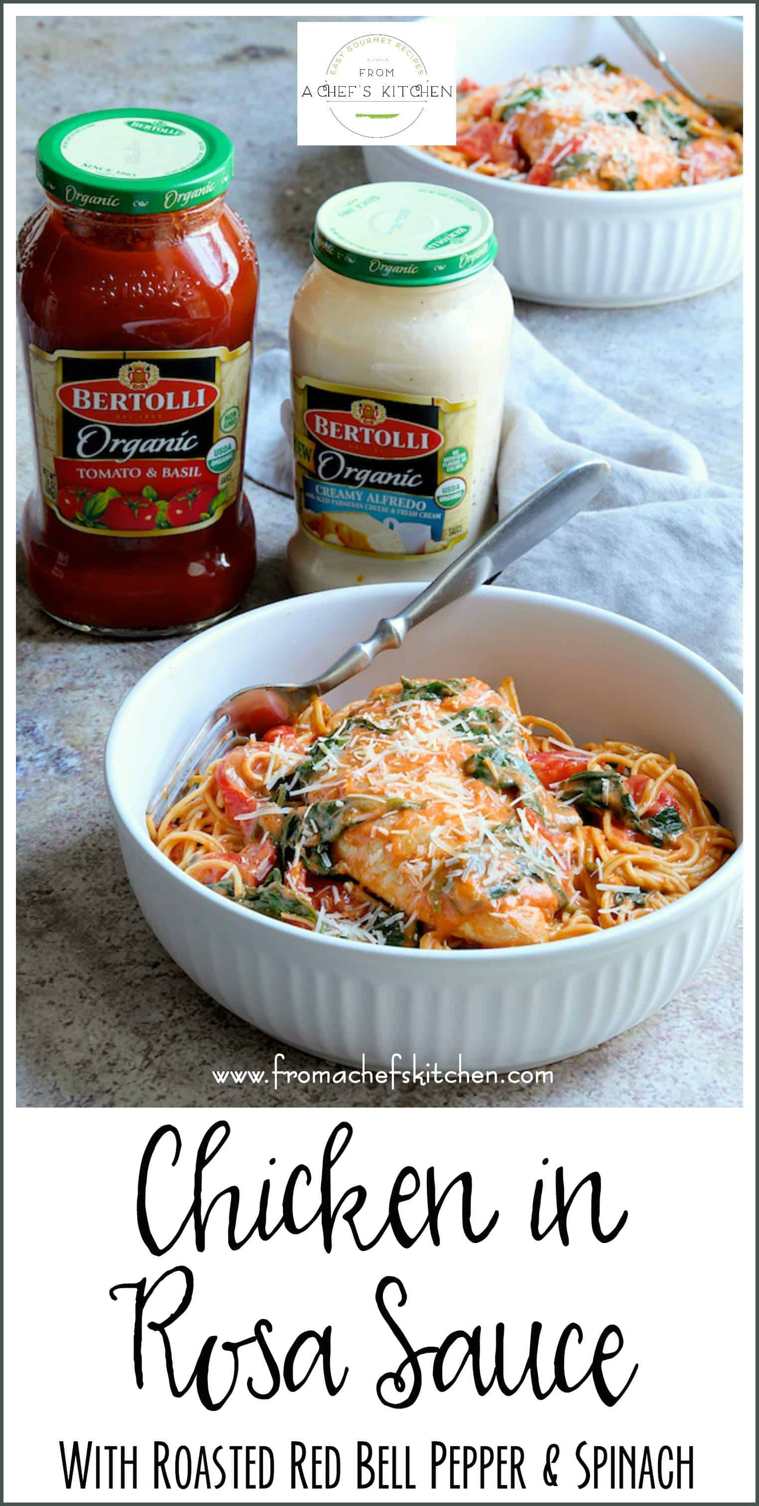 #sponsored #ad - Chicken in Rosa Sauce with Roasted Red Bell Pepper and Spinach is perfect for your romantic Valentine's Day dinner at home! This simply delicious Tuscan-inspired meal will have you asking for amoré!#BertolliVDayIn #chicken #pasta @Bertolli