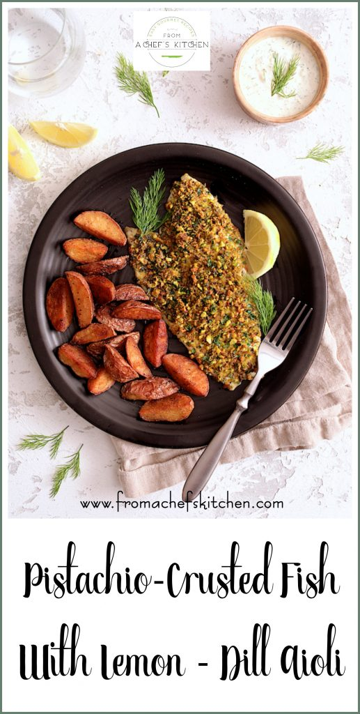 Pistachio Crusted Fish with Lemon Dill Aioli is an easy restaurant-quality meal that's perfect for date night and it's ready in 30 minutes! #fish #pistachio #lemon #dill #aioli