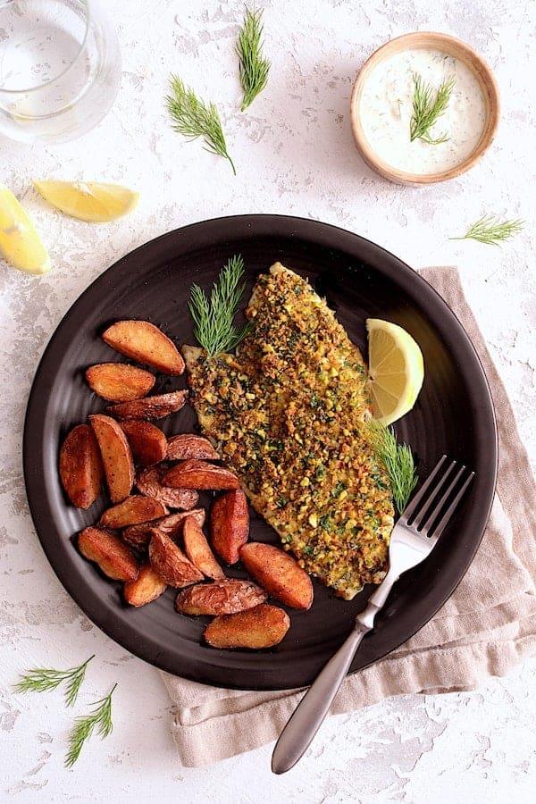 Pistachio Crusted Fish with Lemon Dill Aioli