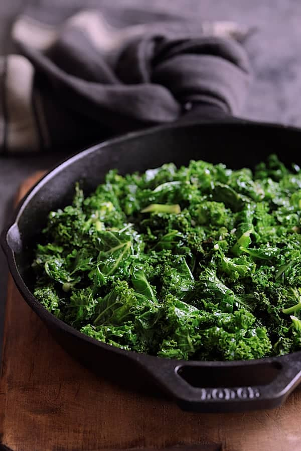 Sauteed kale in cast iron skillet