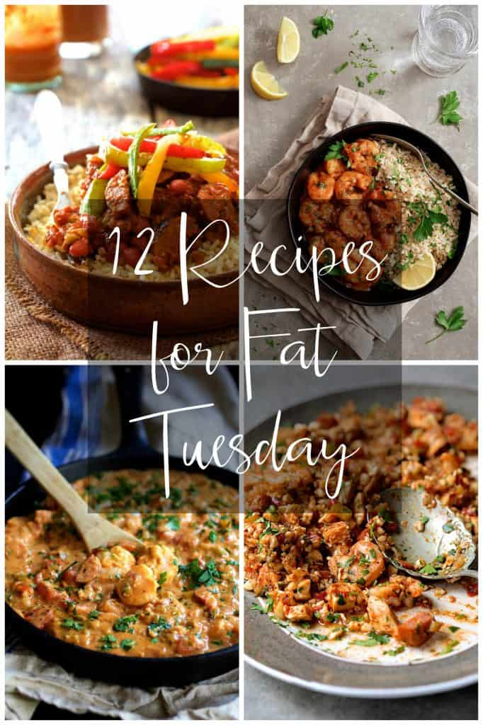 Graphic for 12 Recipes for Fat Tuesday with four photos from the collection.