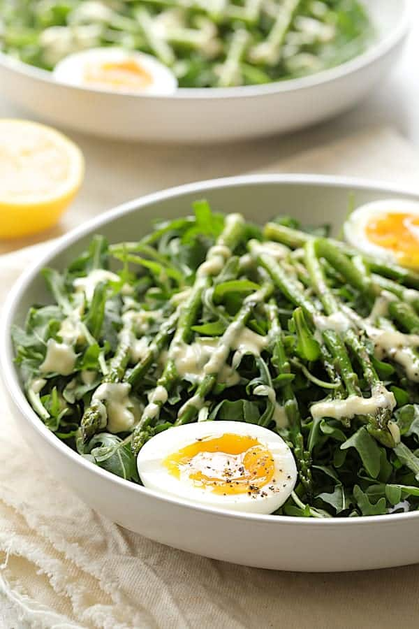 Arugula, Egg and Asparagus Salad with Creamy Lemon Vinaigrette - Straight-on shot of dish