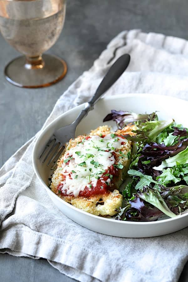 Cauliflower Parmigiana - Another straight-on shot of dish from slightly farther away
