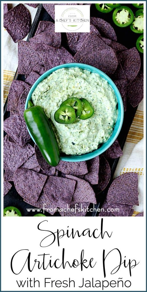 Spinach Artichoke Dip with Fresh Jalapeño is a twist on a classic party favorite! It's the perfect pairing for Mission Organics® Blue Corn Tortilla Chips! @MissionFoodsUS #ad #sponsored #MissionOrganics #tortilla #tortillachips #spinach #artichoke #spinachartichokedip