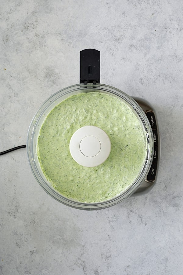 Spinach Artichoke Dip with Fresh Jalapeno - Overhead shot of dip in food processor