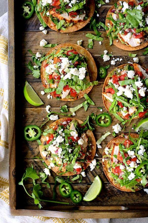 Chicken Tostadas with Black Bean Guacamole and Salsa Fresca - Another overhead angle on wooden tray