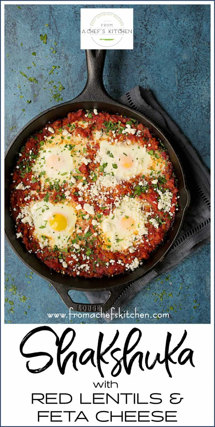 Shakshuka with Red Lentils and Feta Cheese is a heartier twist on traditional shakshuka.  Red lentils are smaller than conventional brown or green lentils so they cook faster for a skillet meal that's perfect anytime! #shakshuka #eggs #redlentils #fetacheese #breakfast #brunch
