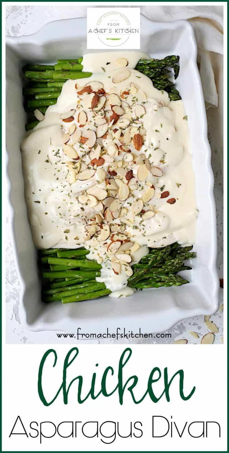 Chicken Asparagus Divan is a spring-inspired twist on a retro dinner party favorite!  It's creamy, cheesy, luxurious and perfect for a spring special occasion!  #chicken #asparagus #maindish #dinnerparty
