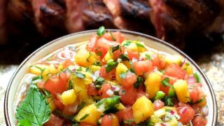 Bourbon Marinated Pork Tenderloin with Peach Watermelon Salsa