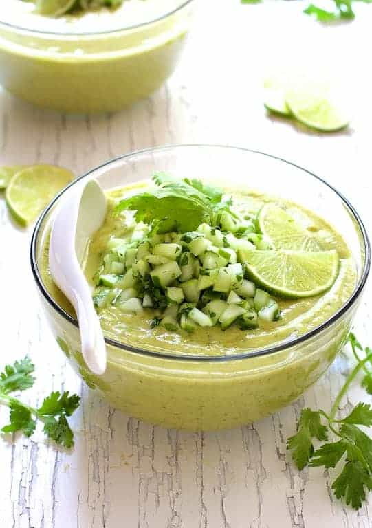 Cold Thai Cucumber Avocado Soup with Cucumber Relish