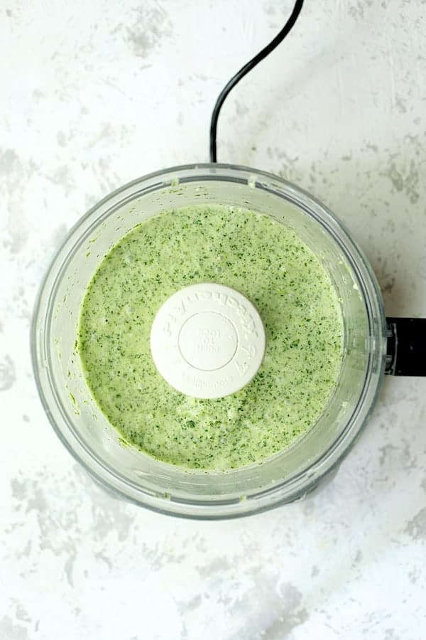 Overhead shot of Cilantro Coconut Sauce in food processor
