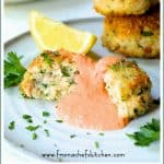 Pinterest image for Shrimp Cakes with Roasted Red Bell Pepper Mayonnaise