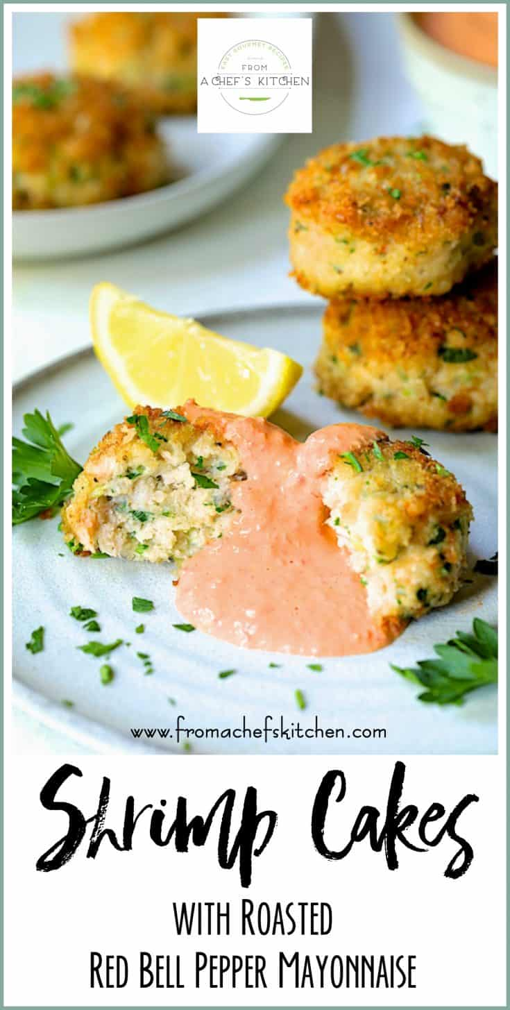 Shrimp Cakes with Roasted Red Bell Pepper Mayonnaise are perfect for a party!  They're easy to make and can be made ahead and reheated.  They also freeze well so you can make them really far in advance! #shrimp #shrimpcakes #fish #seafood #mayonnaise