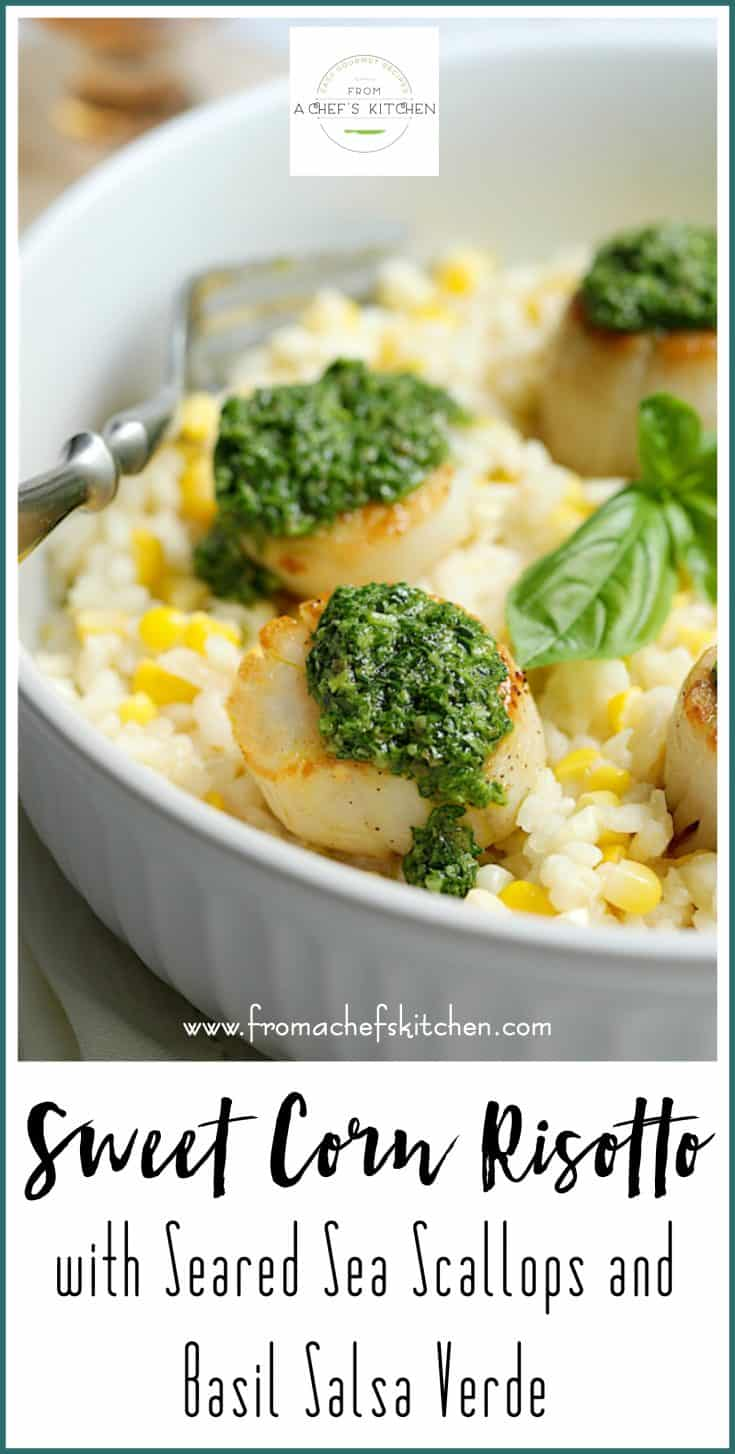 Sweet Corn Risotto with Seared Sea Scallops and Basil Salsa Verde is a beautiful, delicious, summery date night dinner for two! #Ad #Sponsored #BBxxcreatedelicious #createdelicious #risotto #seascallops #scallops #basil