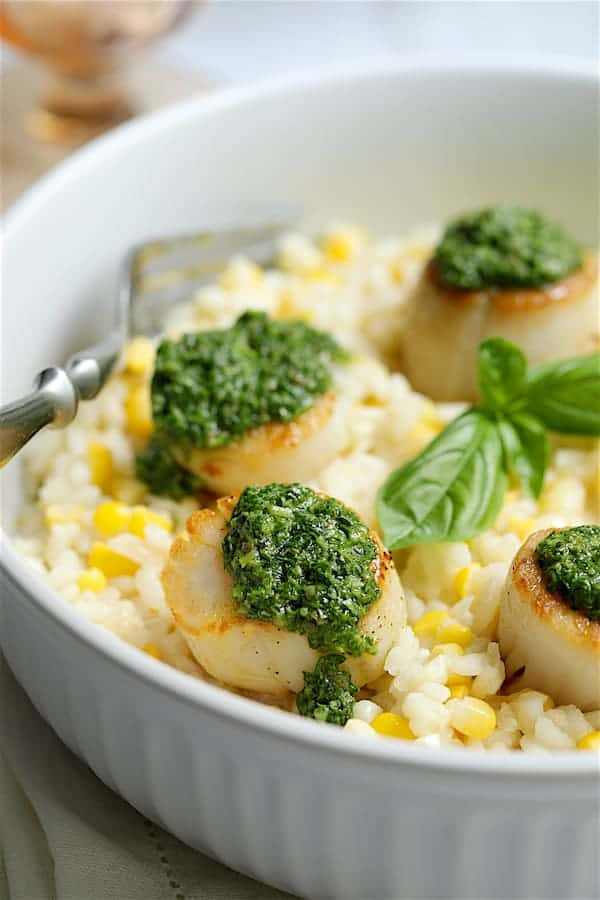 Sweet Corn Risotto with Seared Sea Scallops and Basil Salsa Verde - Close-up shot