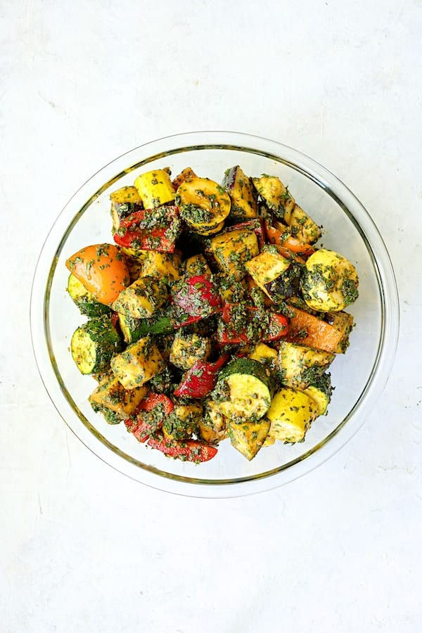 Grilled Vegetable Kabobs with Charmoula - Overhead shot of vegetables in charmoula marinade