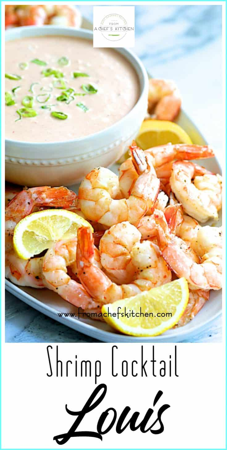 Shrimp Cocktail Louis harkens back to an era when shrimp cocktail was the ultimate in elegance! This modern twist which includes Sriracha hot sauce is the perfect party food! #shrimp #shrimpcocktail #appetizer #seafood
