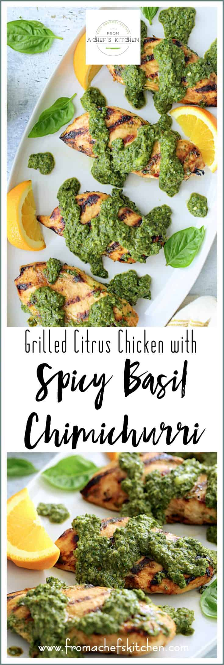 Grilled Citrus Chicken with Spicy Basil Chimichurri is the perfect flavorful late summer way to change up your grilling routine! #chicken #chickenrecipes #grilledchicken #basil #chimichurri #lightandhealthy