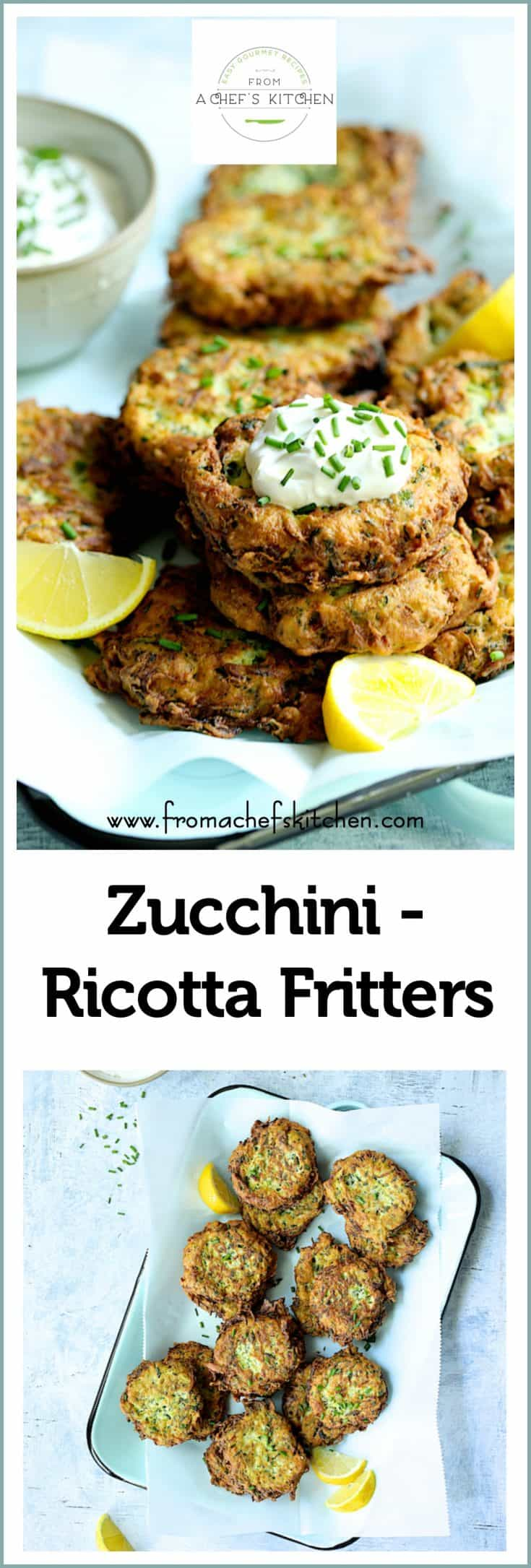 Zucchini Ricotta Fritters are a delicious way to use zucchini and make a great appetizer, snack or vegetarian entree. They're super-crispy on the outside and creamy and luscious on the inside! #zucchini #zucchinirecipes #zucchinifritters #vegetable #vegetableside dish #side dish #vegetarian