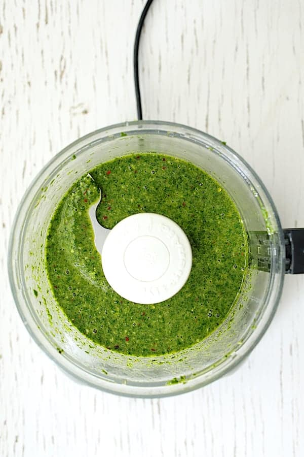 Purslane Chimichurri - Overhead shot of smooth sauce in food processor after processing