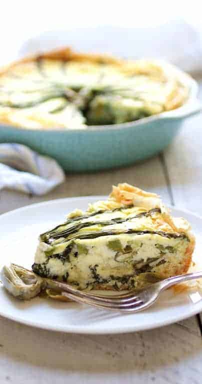 Spring Vegetable Pie with Feta Cheese and Filo Crust