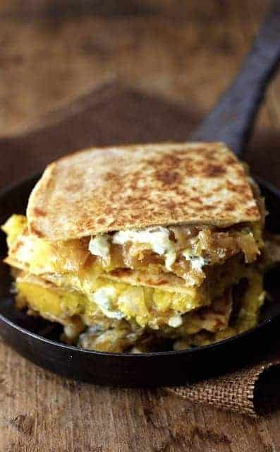 Butternut Squash, Caramelized Onion and Cambozola Quesadillas with Chipotle Sour Cream