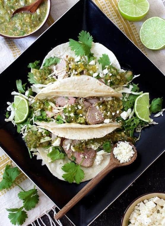 Cumin Lime Roast Pork Tacos with Salsa Verde