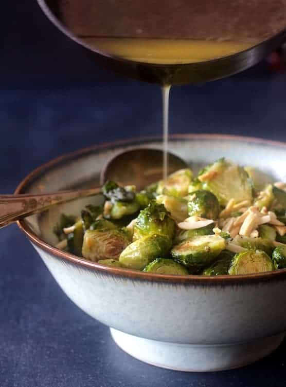 Roasted Brussels Sprouts with Brown Butter and Almonds