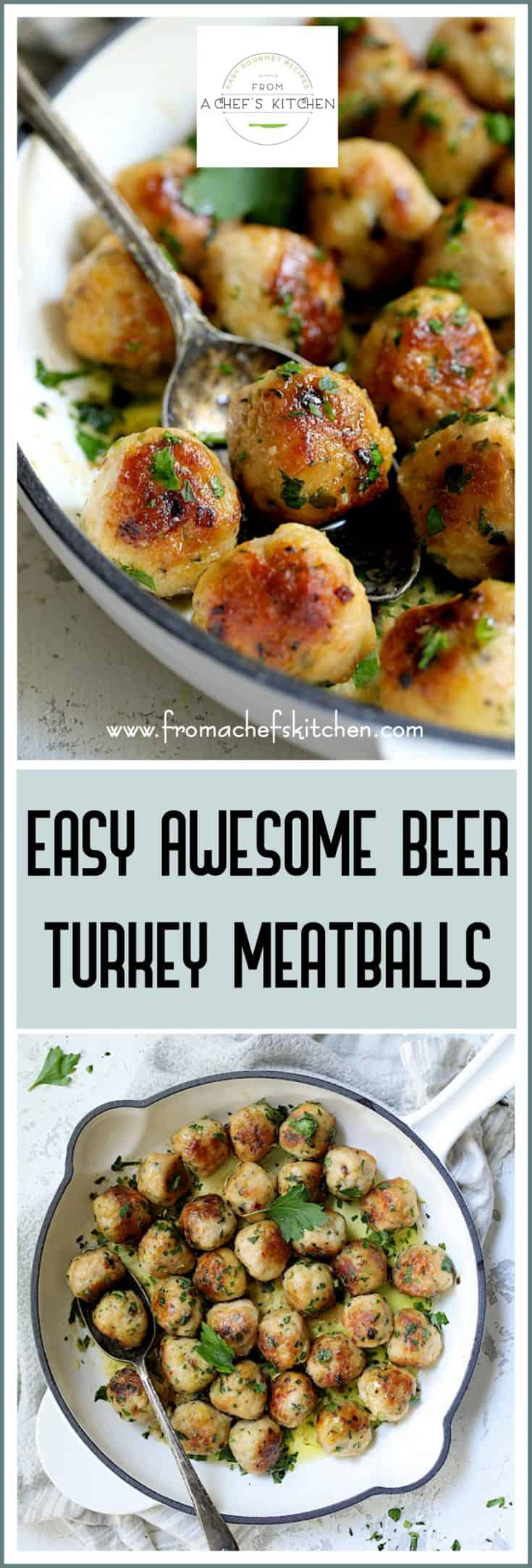 Easy Awesome Beer Turkey Meatballs are easy, comforting and take little time to prepare. The beer adds a lively flavor and a hint of butter stirred in at the end creates a luscious, velvety sauce! #cookingwithbeer #beerturkeymeatballs #turkeymeatballs #meatballs #gamedayrecipes #easydinner
