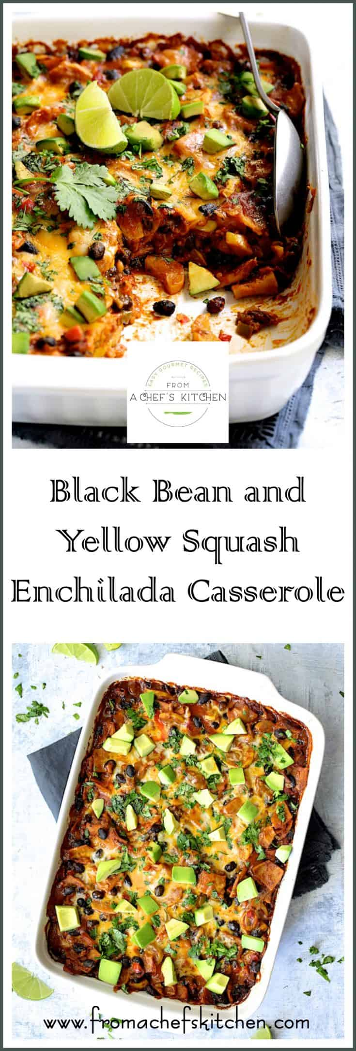 Black Bean and Yellow Squash Enchilada Casserole is a hearty meatless Mexican-inspired dish even non-vegetarians will love! #vegetarian #meatless #Mexicanfood #Mexican #vegetarianmexicanfood #blackbean #yellowsquash #enchilada #enchiladacasserole