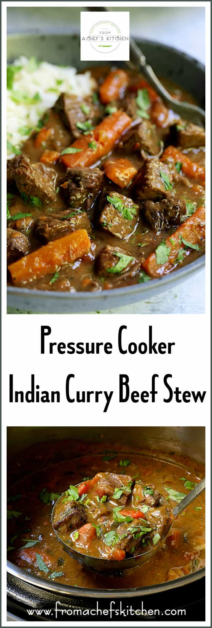#Ad #Sponsored - Pressure Cooker Indian Curry Beef Stew is the perfect dish to warm you on a chilly fall or winter night! It tastes exotic yet it's so easy! #Souspreme #pressurecooker #pressurecooking #pressurecookerrecipes #Indianfood #Indiancuisine #beef #beefstew #Indianbeefstew #Indianbeefcurry #beefcurry