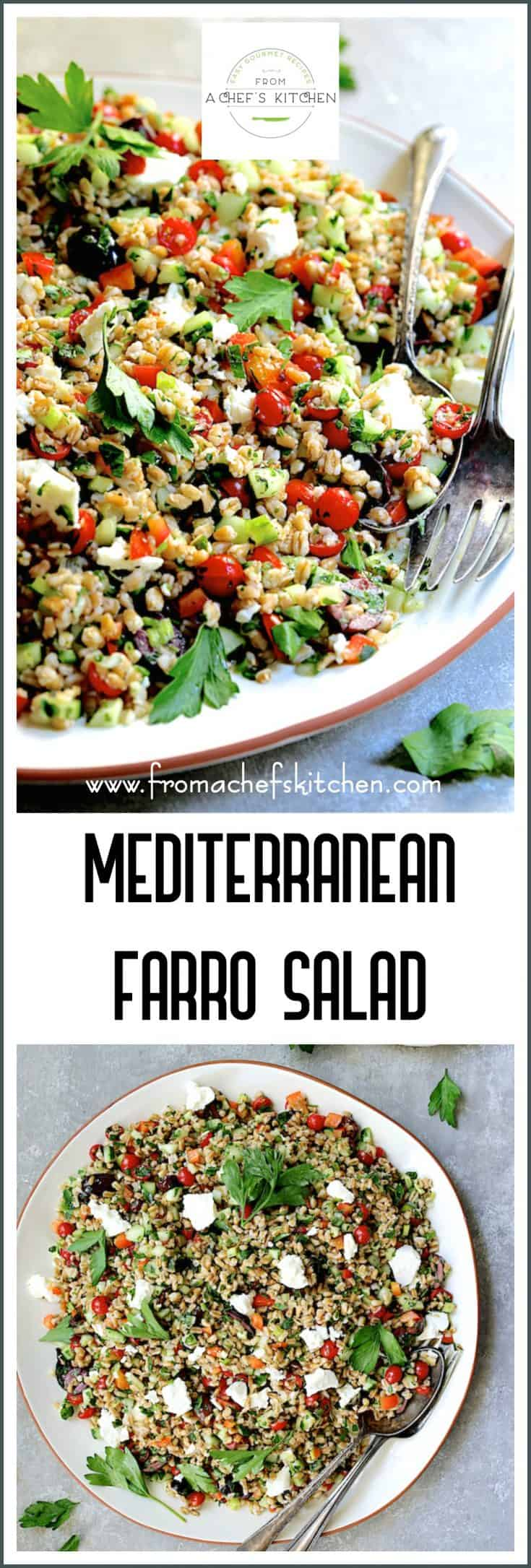 Mediterranean Farro Salad with a light, lemony dressing, crunchy vegetables and feta cheese is refreshing and perfect year-round! #mediterraneanfood #farro #salad #mediterraneansalads #grains