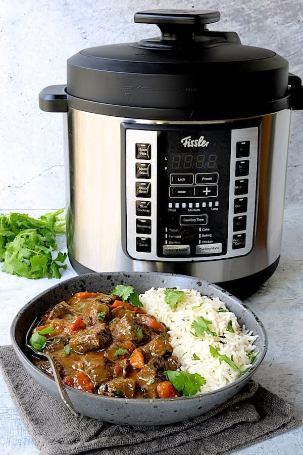 Photo of Fissler Multi Pot with a bowl of the stew.