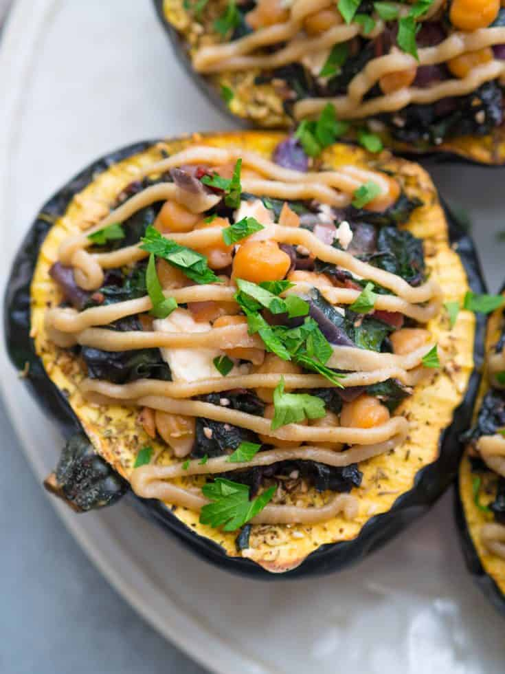 Chard-Stuffed Acorn Squash with Za'atar and Tahini Drizzle
