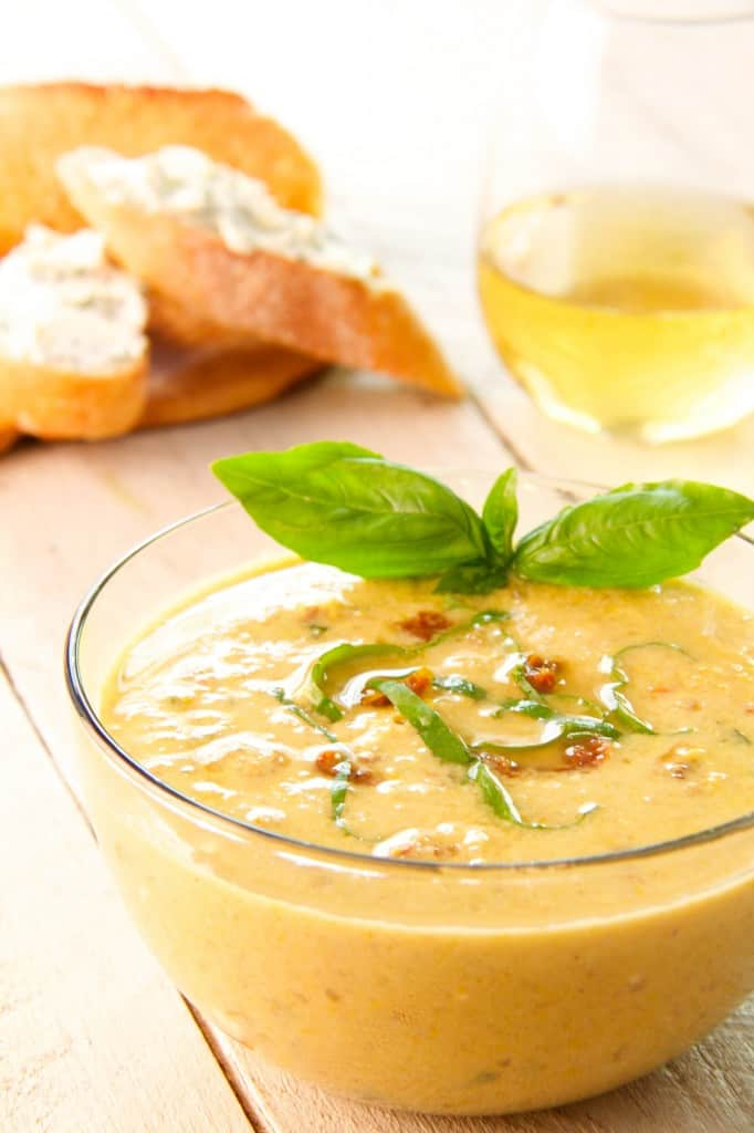 Sweet Corn and Sun-Dried Tomato Chowder with Goat Cheese and Chive Croutons