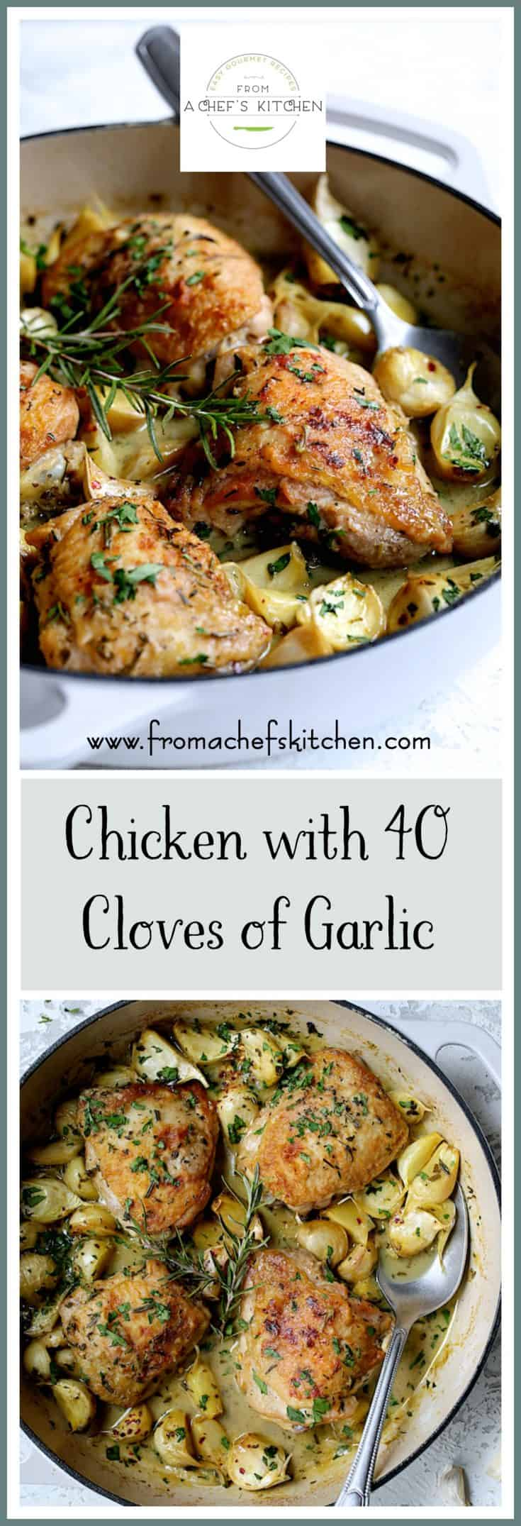 Chicken with 40 Cloves of Garlic is a classic French country dish that's perfect for a weeknight dinner or your most elegant dinner party. Paired with budget-friendly chicken thighs, all that garlic mellows into buttery goodness for a dish you'll fall in love with! #chicken #chickenrecipes #Frenchrecipes #garlic #easychickenrecipes