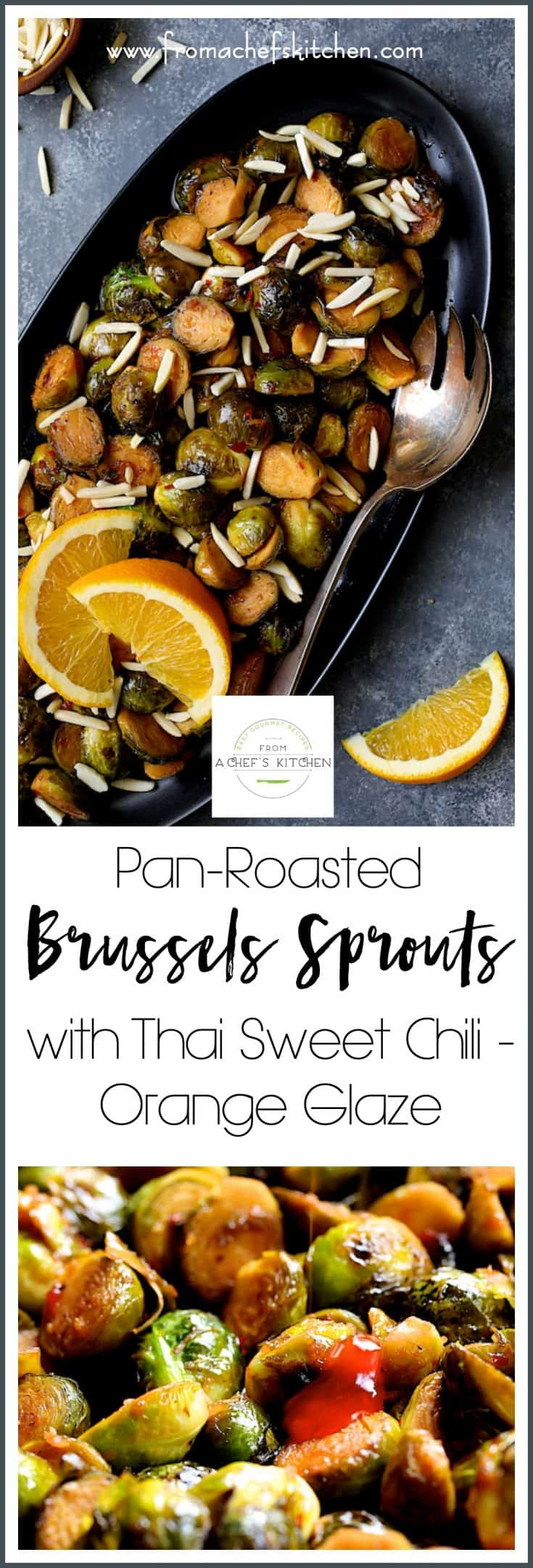 Pan-Roasted Brussels Sprouts with Thai Sweet Chili - Orange Glaze is a party in your mouth! This flavorful vegetable side dish is super easy to pull together on your stovetop! #brusselssprouts #brusselssproutsrecipes #Thai #Thaifood #vegetable #easyvegetablerecipes #sidedish