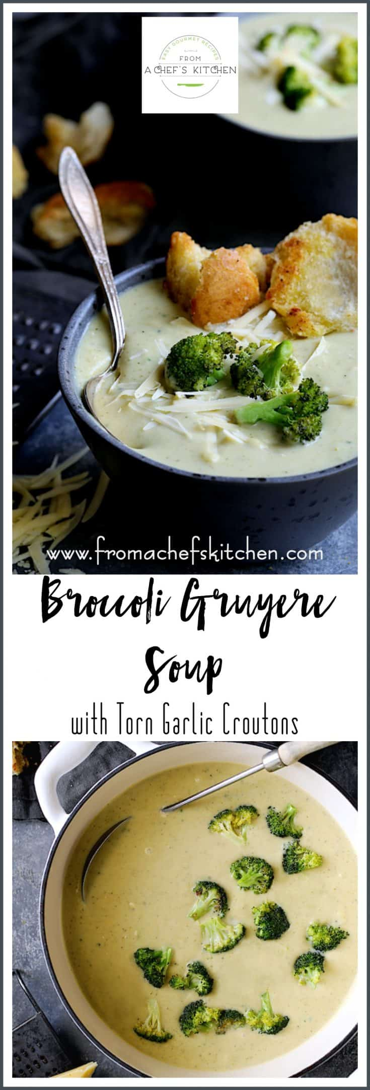 Broccoli Gruyere Soup is an upscale twist on classic broccoli cheese soup that's elegant enough to serve at your next dinner party. Torn Garlic Croutons are an easy way to add a crunchy factor to this beautiful, silky smooth soup. #broccoli #broccolisoup #vegetable #vegetablesoup #croutons #soup