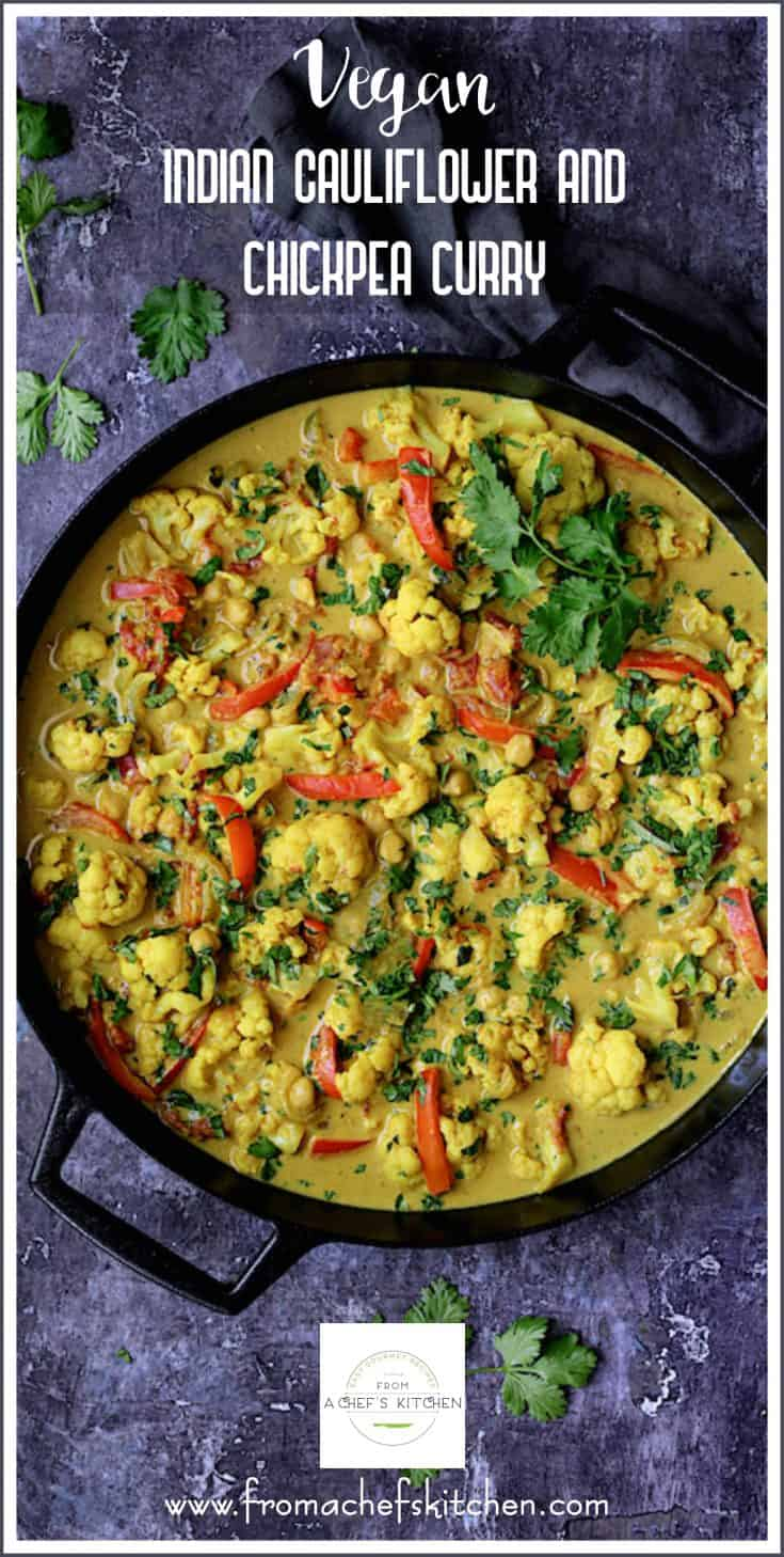 Vegan Indian Cauliflower and Chickpea Curry is a super healthy, super easy yet satisfying meatless meal that's full of spicy goodness! #vegan #vegetarian #indian #cauliflower #chickpea