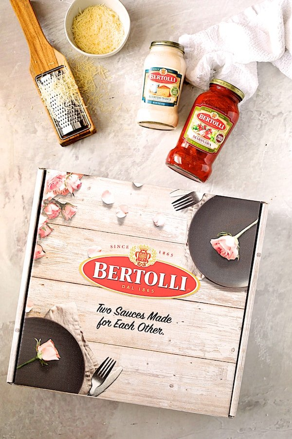 Overhead shot of Bertolli products with box