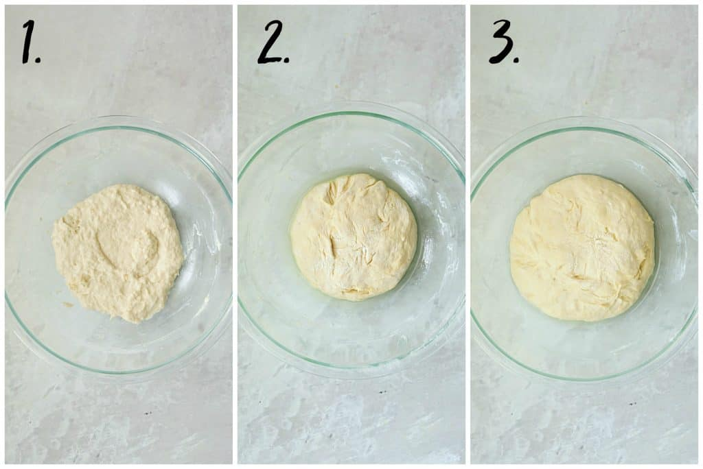 Collage of overhead shots showing progression of making pizza dough