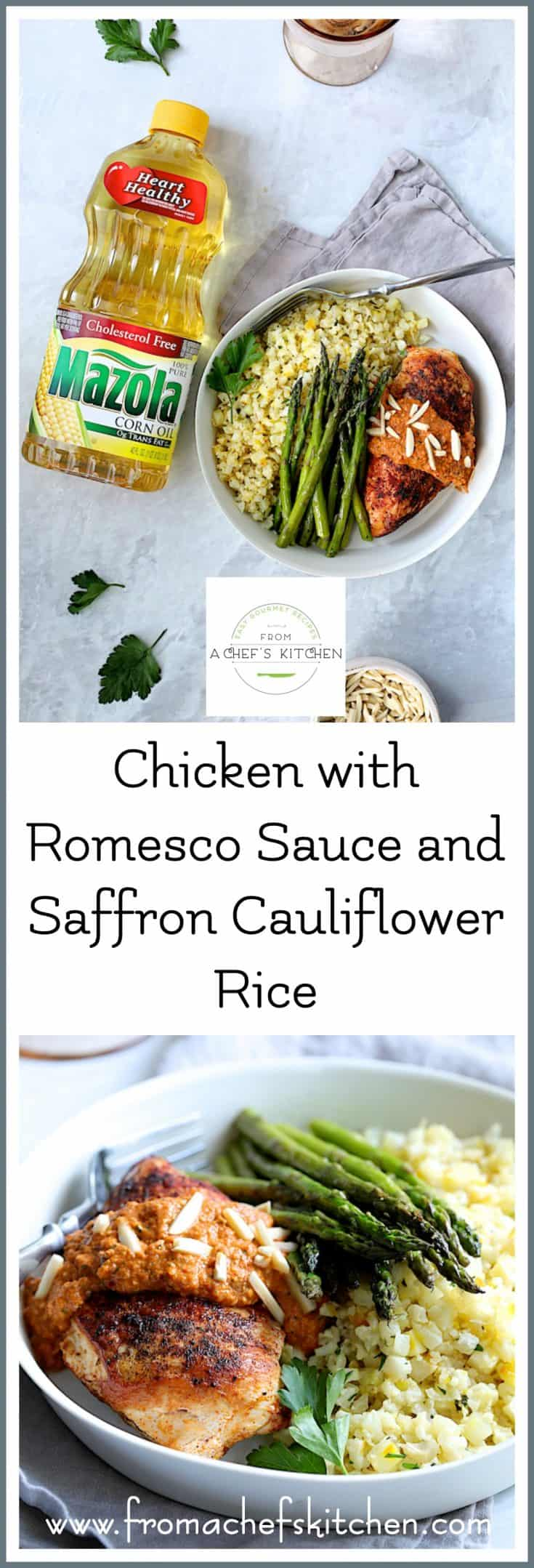 #AD #Sponsored - Chicken with Romesco Sauce and Saffron Cauliflower Rice, made with Mazola Corn Oil is a Spanish-inspired restaurant-quality dish that's easy enough for a weeknight and elegant enough for your next dinner party! @Mazola #MazolaHeartHealth #CollectiveBias #chicken #chickenrecipes #easychickenrecipes #Spanish #Spanishrecipes