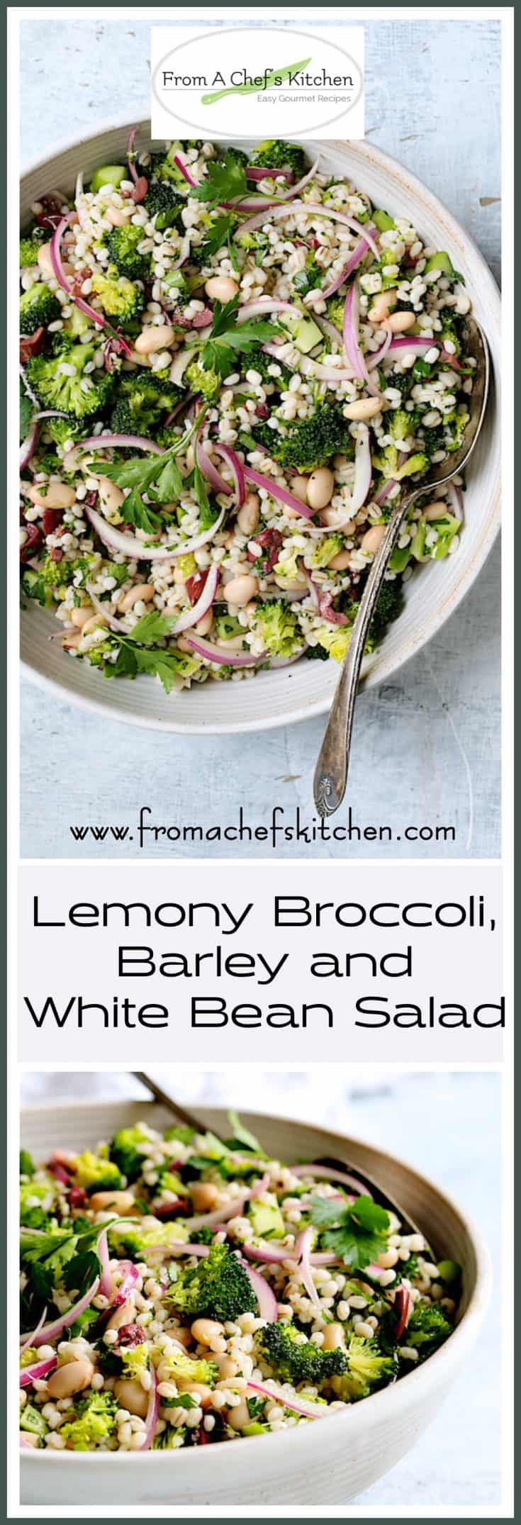 Lemony Broccoli, Barley and White Bean Salad is a light and lively Italian-inspired salad that's perfect for a healthful lunch or side dish for almost anything! #salad #vegetablesalad #vegan #vegansalad #vegetariansalad #broccolirecipes #saladrecipes