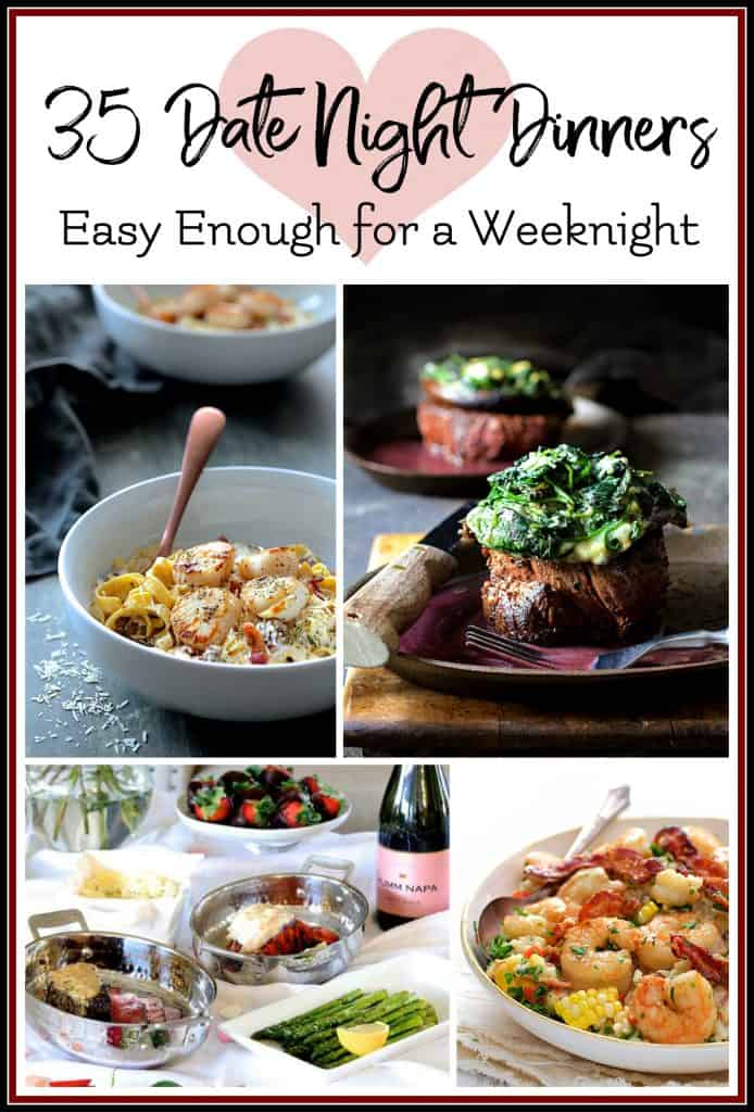 Graphic for 35 Date Night Dinners Easy Enough for a Weeknight with four dishes.