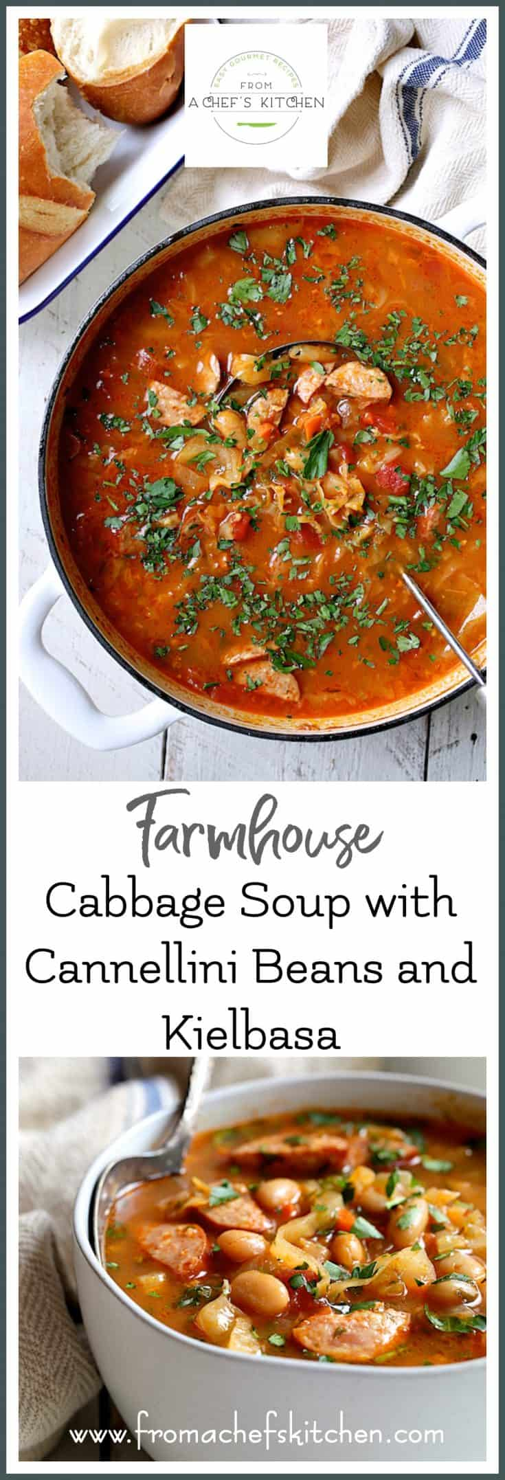 Farmhouse Cabbage Soup with Cannellini Beans and Kielbasa is rustic, hearty and some of the best soup you'll make all fall and winter long! #soup #cabbagesoup #souprecipes